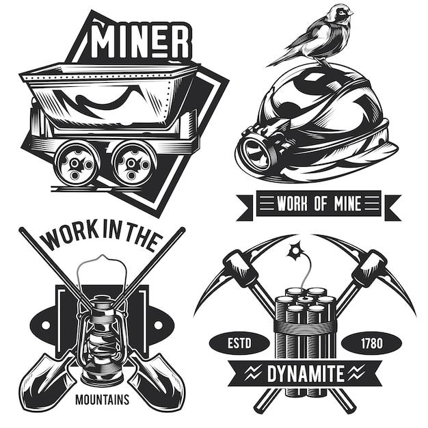 鉱夫のエンブレム、ラベル、バッジ、ロゴのセット。 無料ベクター