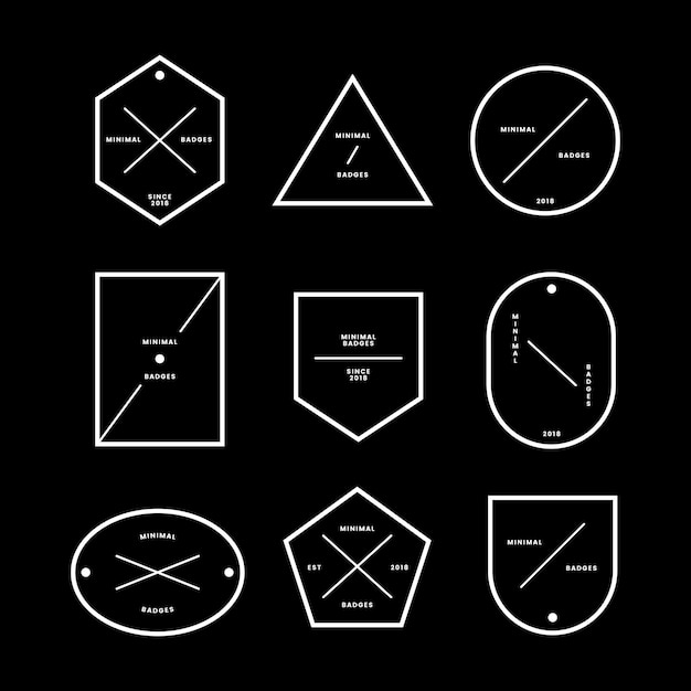 Набор минимальных значков и ярлыков Бесплатные векторы