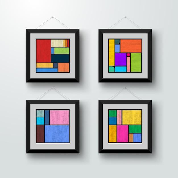 最小限の色の幾何学的なポスターのセット。 Premiumベクター