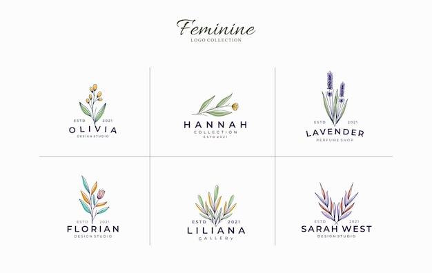 미니멀 & 아름다운 여성 식물 로고 템플릿 세트 프리미엄 벡터