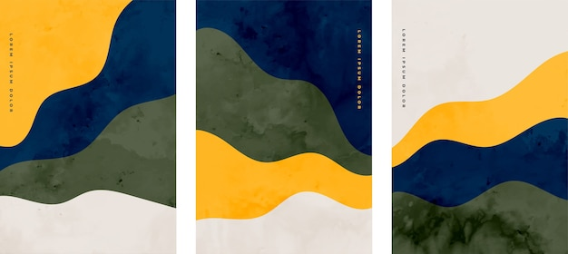 ミニマリストの手描きの抽象的な波状デザインのセット 無料ベクター