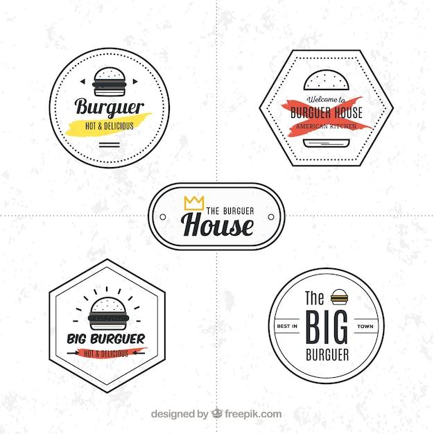 Набор минималистских логотипов с гамбургером Premium векторы