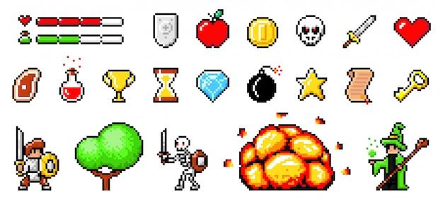 Набор минималистичный пиксель арт векторных объектов изолированы. пиксельная игра. 8-битная нотация игрового интерфейса Premium векторы