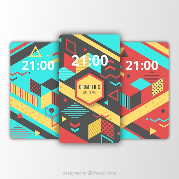 Set of mobile backgrounds with abstract elements