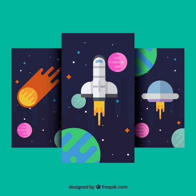 Set Of Mobile Wallpapers With Space Elements In Flat Design Free Vector