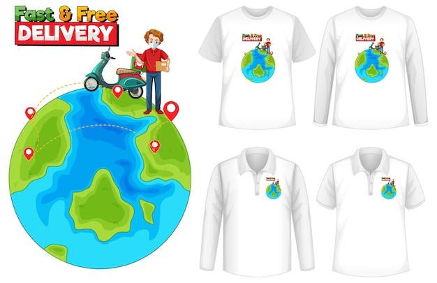Набор макета рубашки с темой доставки Бесплатные векторы