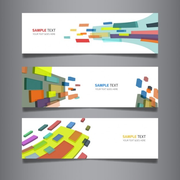 Set of modern abstract 3D banners