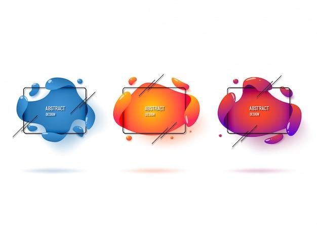 Набор современных абстрактных графических элементов. жидкие динамичные цветные формы и линии. Premium векторы