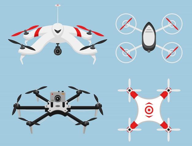 現代の空中ドローンとリモコンのセット。科学と現代のテクノロジー。図。 Premiumベクター
