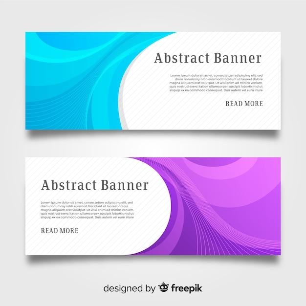 Набор современных баннеров с абстрактным дизайном Бесплатные векторы