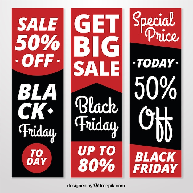 Set of modern banners with interesting black friday deals