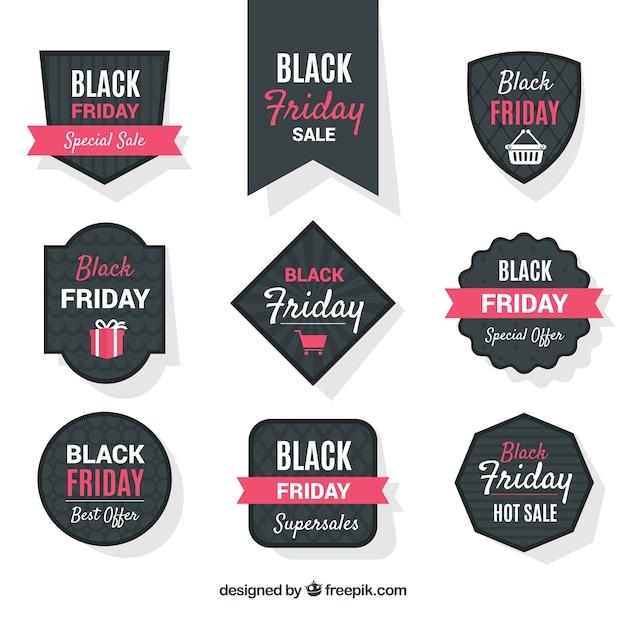 Set of modern black friday labels