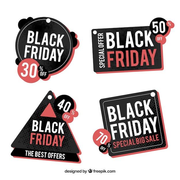 Set of modern black friday stickers