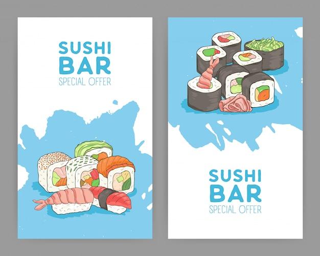 食欲をそそる日本の寿司と青と白の背景にロールとアジア料理レストランのモダンな明るい色チラシテンプレートのセット。特別広告。図。 Premiumベクター