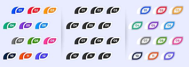 Набор современных пулевых очков от одного до двенадцати Бесплатные векторы