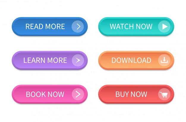 Набор современных кнопок для веб-сайта и пользовательского интерфейса. векторный icon Premium векторы
