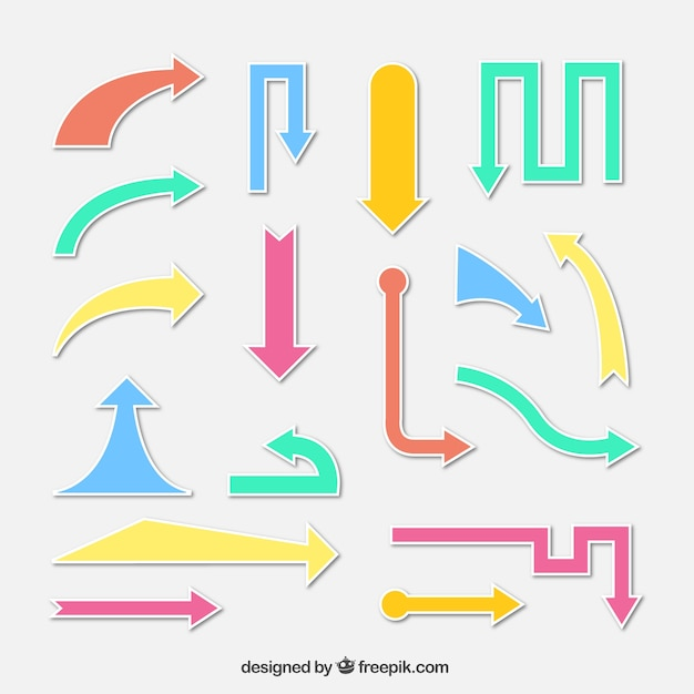 Set of modern colored arrow stickers
