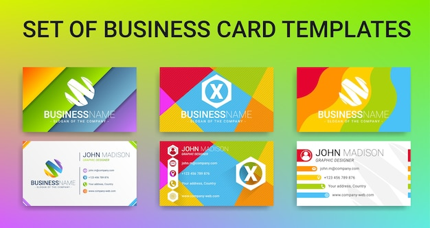 Set of modern creative colorful business card templates vector set of modern creative colorful business card templates premium vector reheart Images