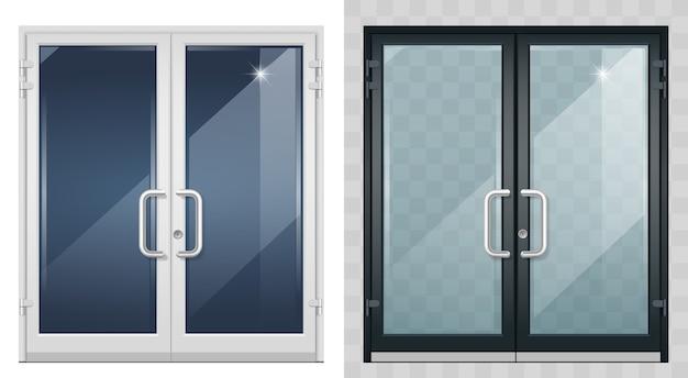 黒のモダンな玄関ドアのセット。 Premiumベクター