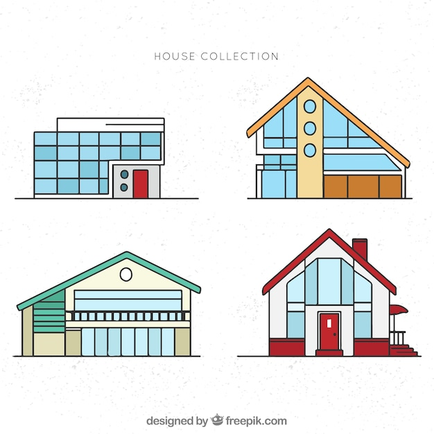 Set of modern facades of houses in linear style