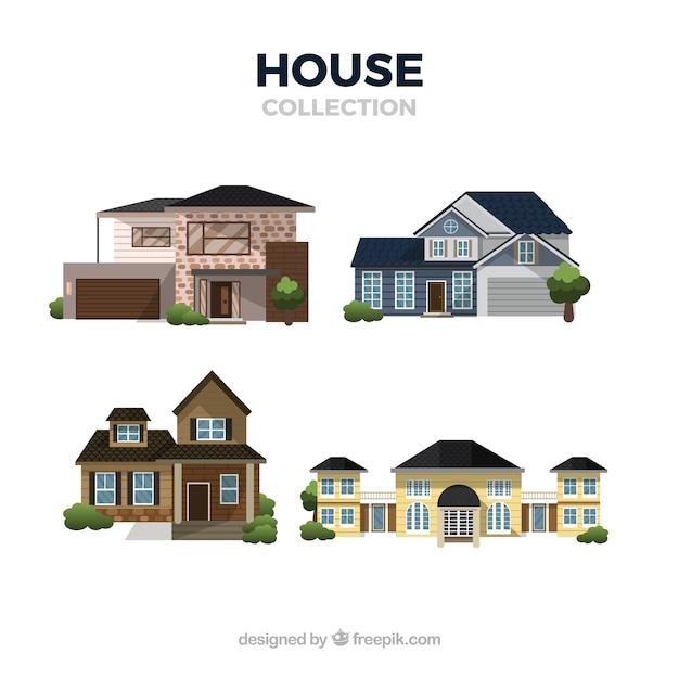 Set of modern houses