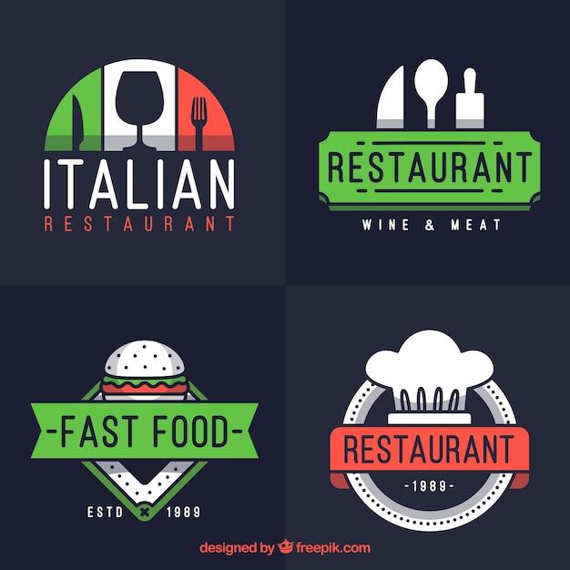 Italian Restaurant Logo With Flag: Set Of Modern Logos For Italian Restaurant Vector