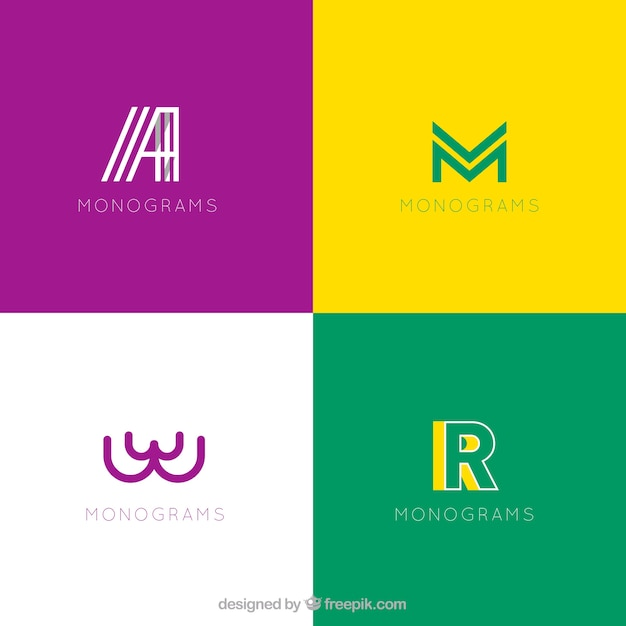 Set of modern logos with initials