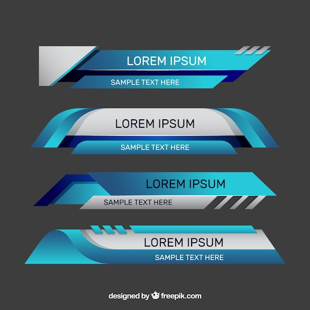Set of modern lower third banners for television Free Vector