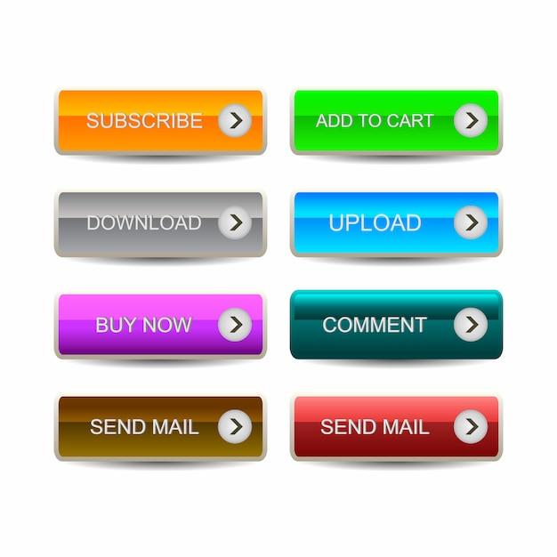 ウェブサイト、モバイルアプリ、インフォグラフィックのモダンなマテリアルスタイルボタンのセット Premiumベクター