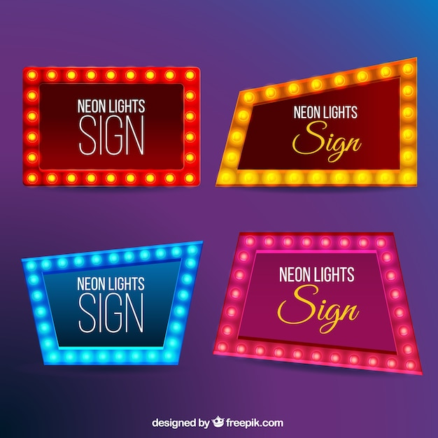Set Of Modern Neon Billboards Vector Free Download