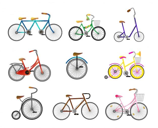 都市通りに乗るためのモダンなレトロ自転車のセット Premiumベクター