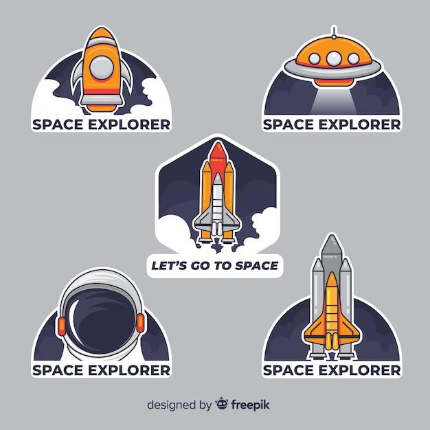 Набор современных космических стикеров Бесплатные векторы