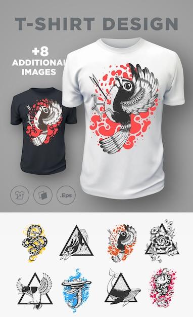 Набор современных принтов футболок с животными. . Premium векторы