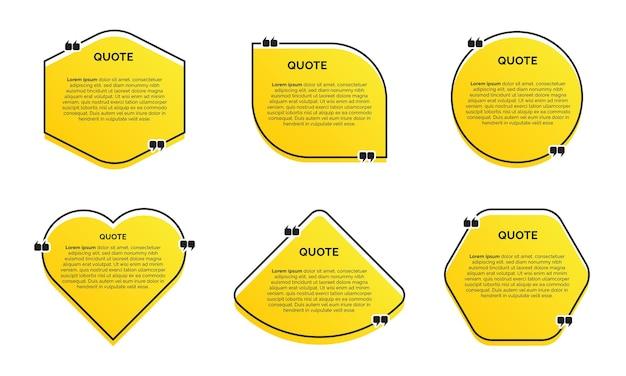 Набор современных модных цитат с желтым фоном Premium векторы