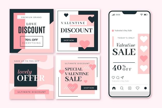 Набор шаблонов сообщений о продаже на день святого валентина Бесплатные векторы