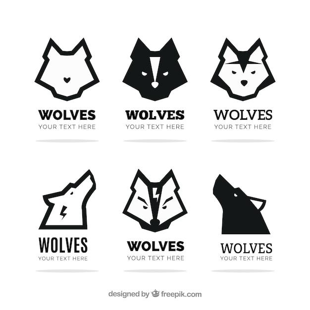 モダンオオカミのロゴのセット 無料ベクター