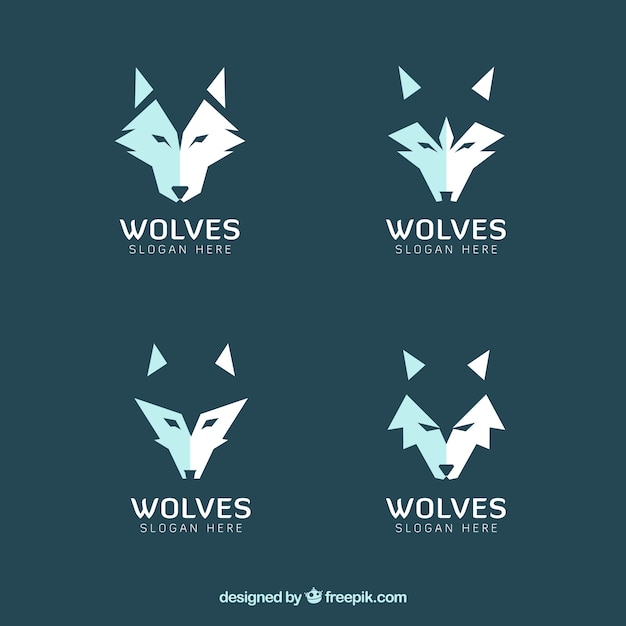 set of modern wolves logos vector free download
