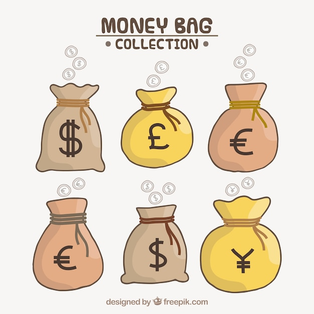 Set of money bags with country\ currencies