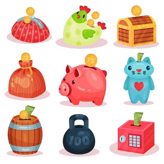 さまざまな形の貯金箱のセット。コインや紙幣を保存するための小さな容器。財務テーマ Premiumベクター