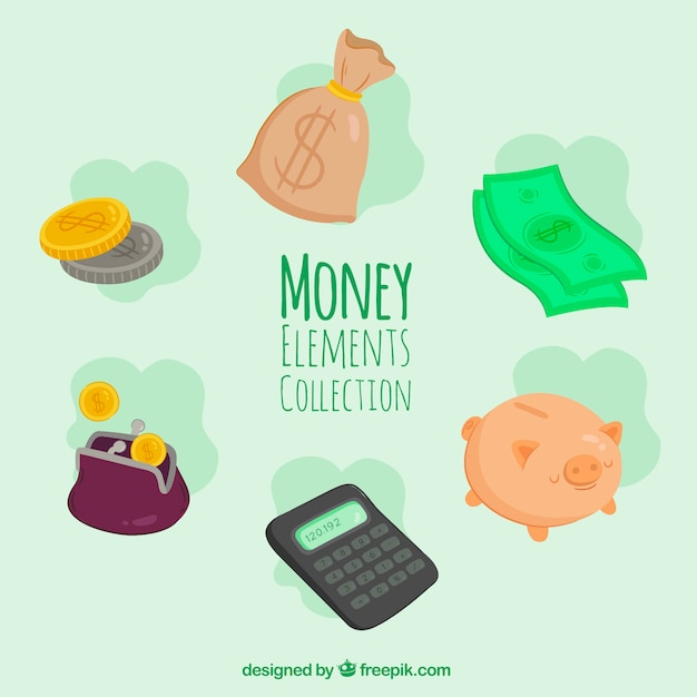 Set of money elements and calculator