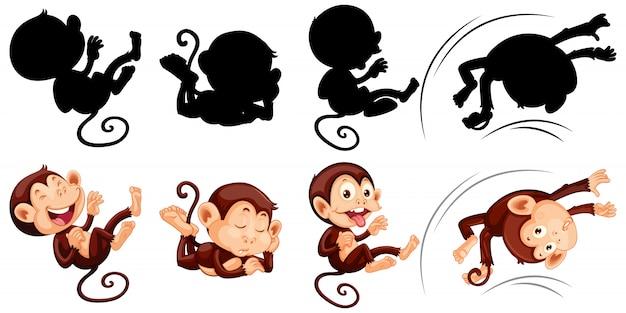 猿とそのシルエットのセット 無料ベクター