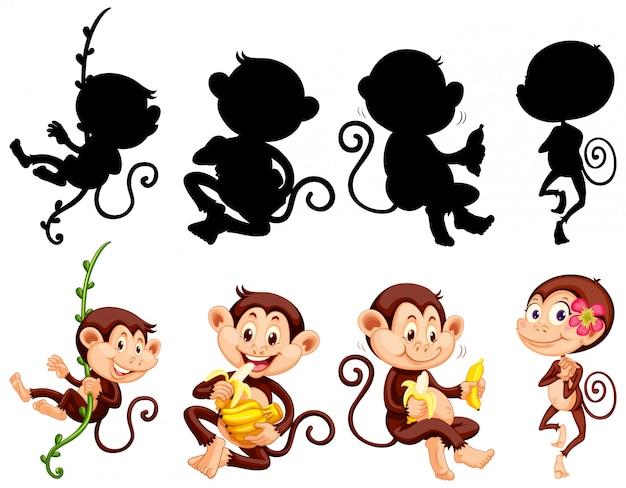 猿のキャラクターとそのシルエットのセット 無料ベクター