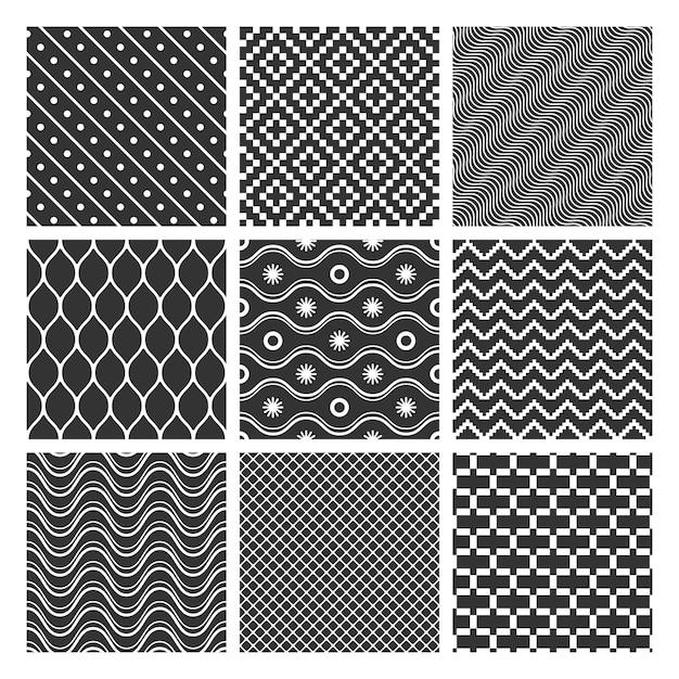 흑백 기하학적 완벽 한 패턴의 집합 무료 벡터