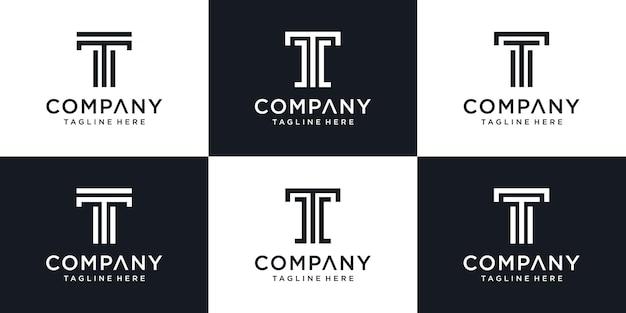 Набор абстрактных монограмм буквица t логотип шаблон. Premium векторы