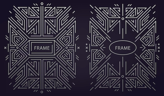 トレンディなヴィンテージとモノラインスタイルのモノグラムデザインのセット Premiumベクター