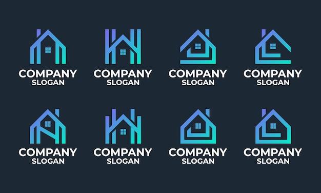 Набор монограмм дома, дома, здания шаблона дизайна логотипа Premium векторы
