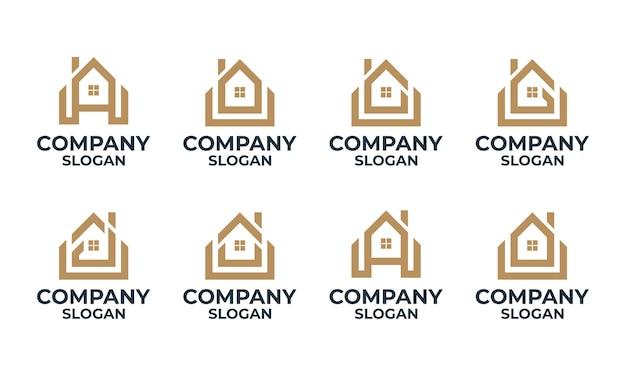 Набор монограмм дома, дома, здания с шаблоном дизайна логотипа начальной буквы Premium векторы