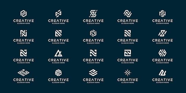 モノグラムの頭文字nのセット。パーソナルブランディング、ビジネス、会社などのクリエイティブなアイデアシンボル。 Premiumベクター