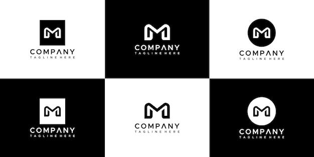 モノグラム文字mロゴデザインテンプレートのセット Premiumベクター
