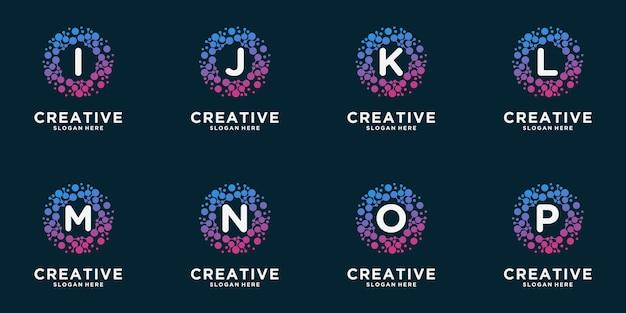 Набор логотипа вензеля с точкой концепции. универсальный красочный биотехнологический чип днк атома молекулы. исследования, наука, медицина, логотип, технологии, лаборатория, молекула Premium векторы